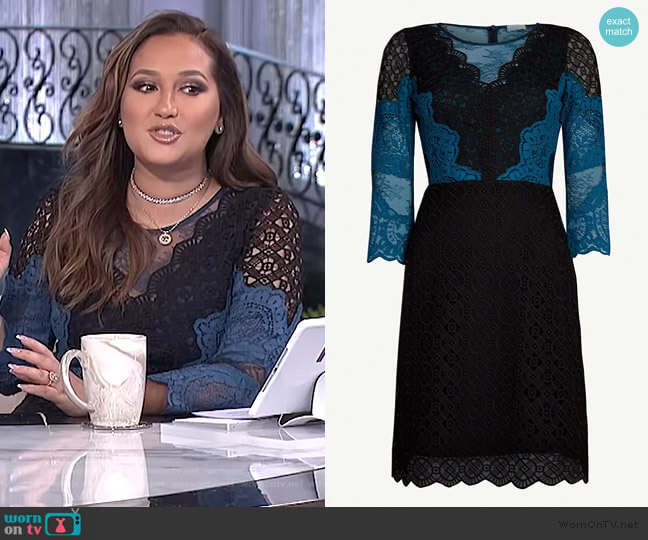 Belladone lace dress by Sandro worn by Adrienne Houghton (Adrienne Houghton) on The Real