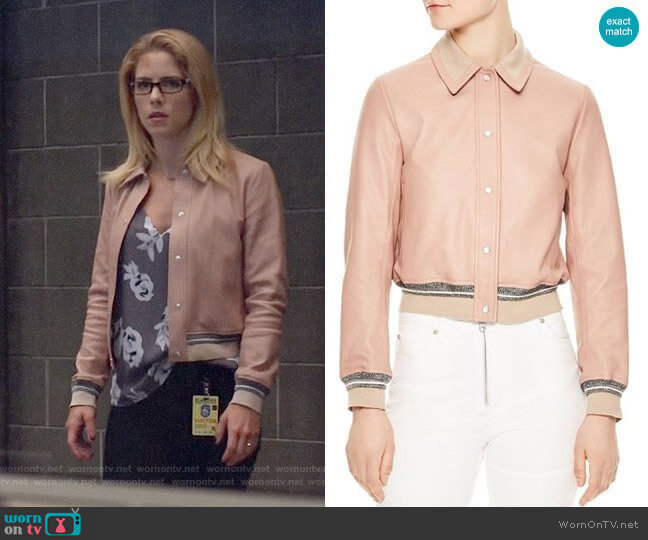 Sandro Biopic Collared Bomber Jacket  worn by Felicity Smoak (Emily Bett Rickards) on Arrow