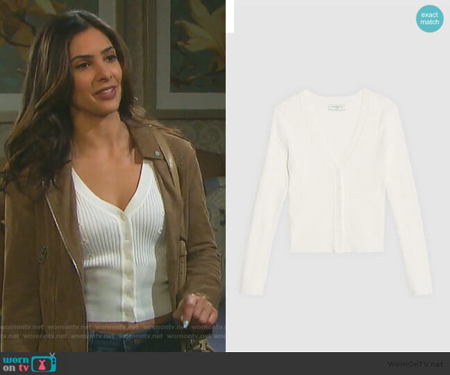 Knit Cardigan with Inlaid Flowers by Sandro worn by Gabi Hernandez (Camila Banus) on Days of our Lives