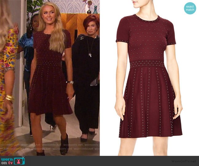 Montaigne Studded Knit Dress by Sandro worn by Paris Hilton on The Talk