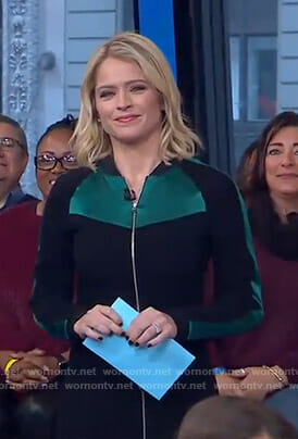 Sara's black and green zip front dress on GMA Day
