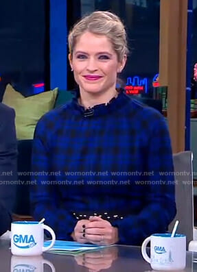 Sara's blue plaid dress on GMA Day