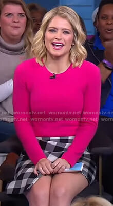 Sara's pink sweater and buffalo check skirt on GMA Day