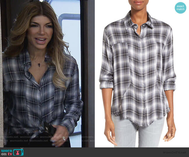 Plaid Frayed Hem Shirt by Signorelli worn by Teresa Giudice  on The Real Housewives of New Jersey