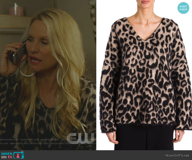 Leopard-Print Mohair Sweater by Stella McCartney worn by Alexis Carrington (Elaine Hendrix) on Dynasty