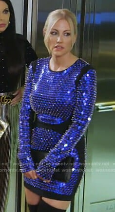 Stephanie's blue embellished mini dress on The Real Housewives of Dallas
