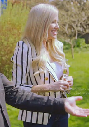 Stephanie's white striped blazer on The Real Housewives of Dallas