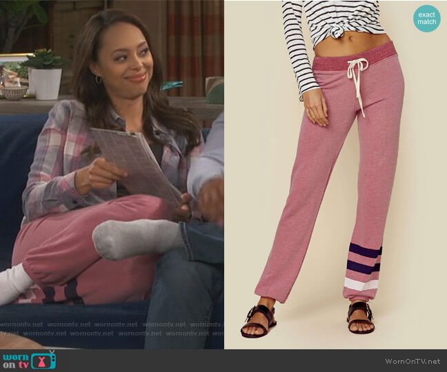 Classic Stripe Sweatpants by Sundry worn by Claire (Amber Stevens West) on Happy Together