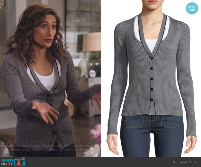 Skinny Ribbed Layered Fitted Cardigan by T by Alexander Wang worn by Emet Kamala-Sweetzer (Sarayu Blue) on I Feel Bad