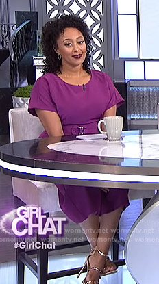Tamera's purple belted jumpsuit on The Real