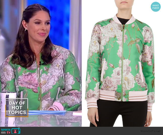 Anjelie Iguazu Jacquard Bomber Jacket by Ted Baker worn by Abby Huntsman (Abby Huntsman) on The View