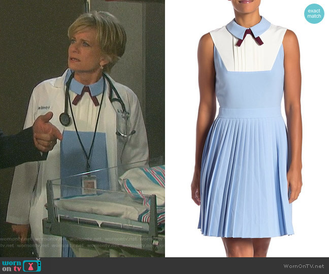 Kayla's blue pleated dress on Days of our Lives