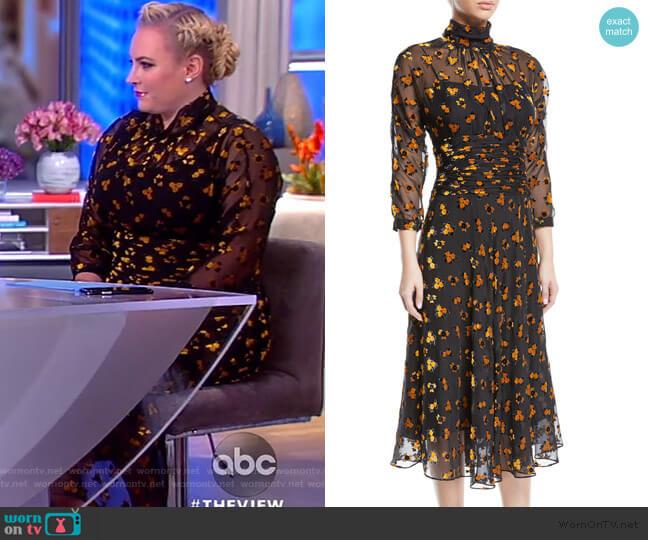 Sheer & Floral Burnout Velvet Dress by Rickie Freeman for Teri Jon worn by Meghan McCain (Meghan McCain) on The View