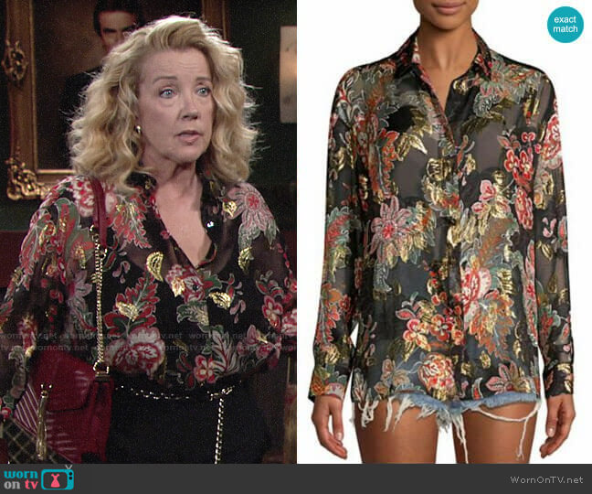 The Kooples Bollywood Metallic Floral Blouse worn by Nikki Reed Newman (Melody Thomas-Scott) on The Young & the Restless