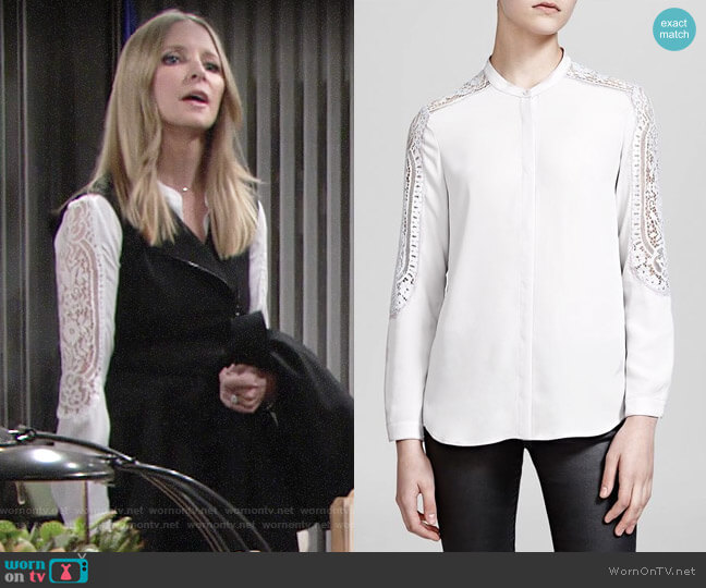 The Kooples Lace-detail woven shirt  worn by Lauralee Bell on The Young & the Restless