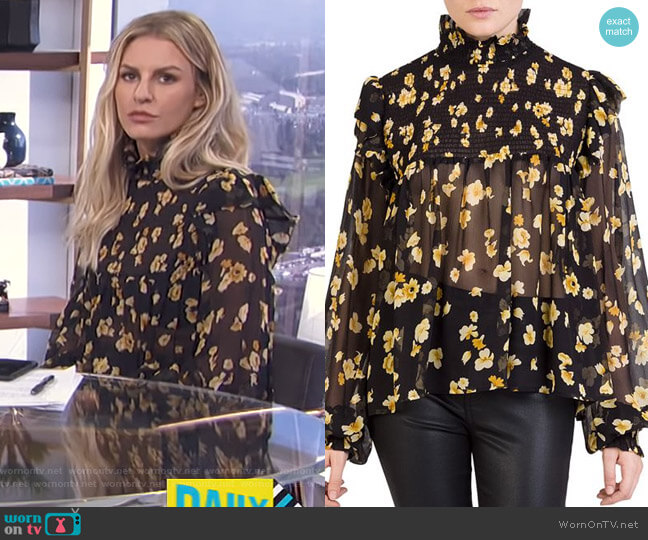 Silk Smocked Floral-Print Top by The Kooples worn by Morgan Stewart  on E! News