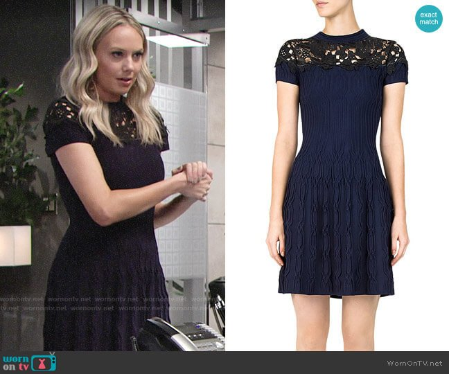 The Kooples Ribbed Lace-Inlay Dress worn by Abby Newman (Melissa Ordway) on The Young & the Restless