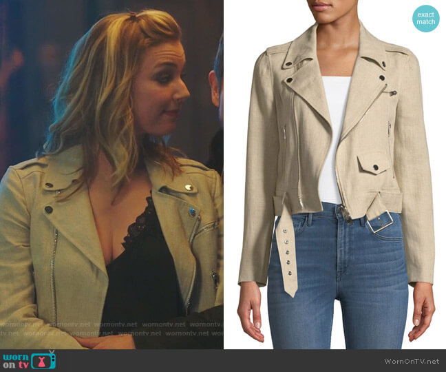 Shrunken Moto Jacket by Theory worn by Emily VanCamp on The Resident