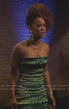 Tiana's green ruched strapless dress on Empire