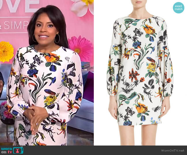 Gothic Floral Silk Dress by Tibi worn by Sheinelle Jones  on Today
