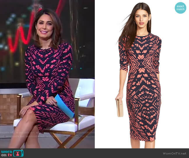 Tie Dye Print Crepe Midi Sheath Dress by Maggy London worn by Cecilia Vega  on Good Morning America