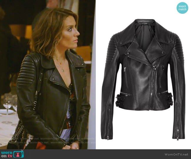 Leather biker jacket by Tom Ford  worn by Cary Deuber on The Real Housewives of Dallas
