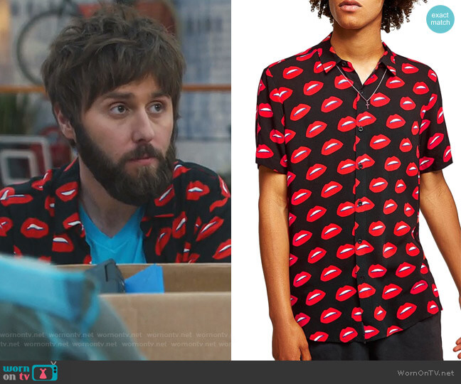 Lips Print Shirt by Topman worn by Chewey (James Buckley) on I Feel Bad