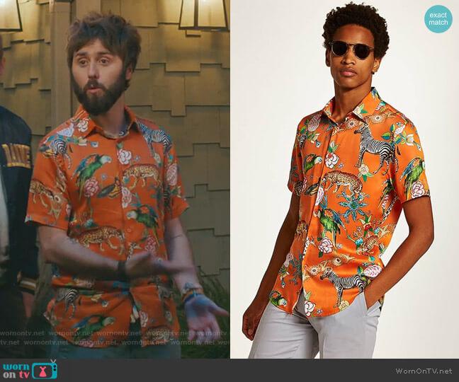 Slim Fit Animal Print Shirt by Topman worn by Chewey (James Buckley) on I Feel Bad