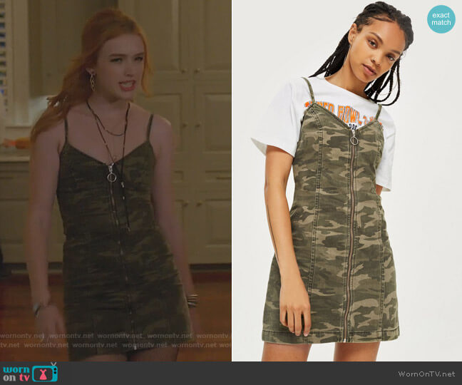 Camo Zip Up Denim Dress by Topshop worn by Kirby Anders (Maddison Brown) on Dynasty