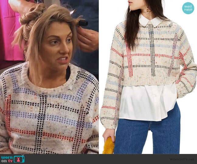 Check Pattern Sweater by Topshop worn by Gina Kirschenheiter  on The Real Housewives of Orange County