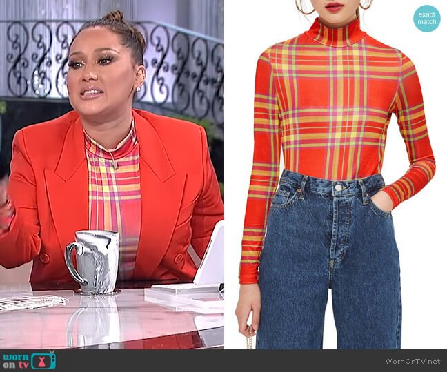Check Slinky Funnel Neck Top by Topshop worn by Adrienne Houghton  on The Real