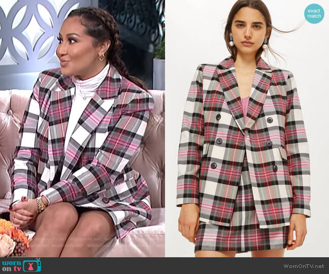 Pink Tartan Jacket by Topshop worn by Adrienne Houghton on The Real