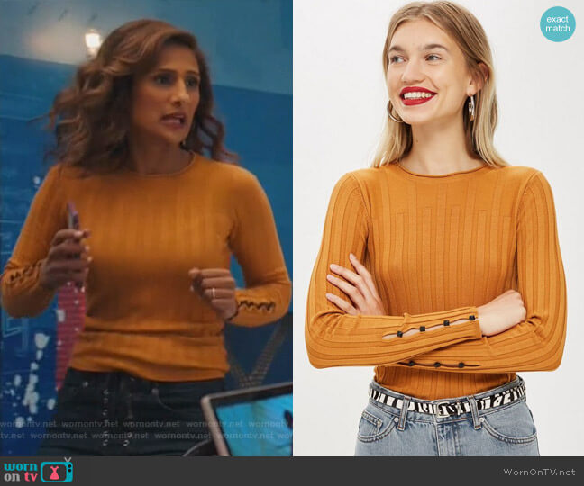 Ribbed Button Sleeve Top by Topshop worn by Emet Kamala-Sweetzer (Sarayu Blue) on I Feel Bad