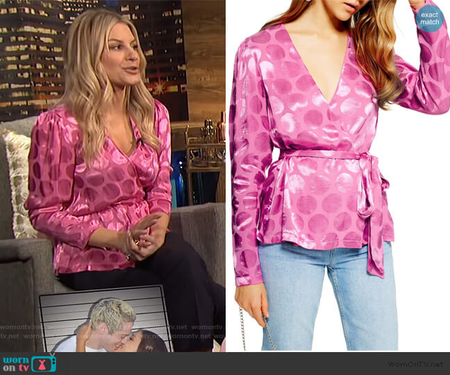 Spot Jacquard Wrap Top by Topshop worn by Morgan Stewart  on E! News