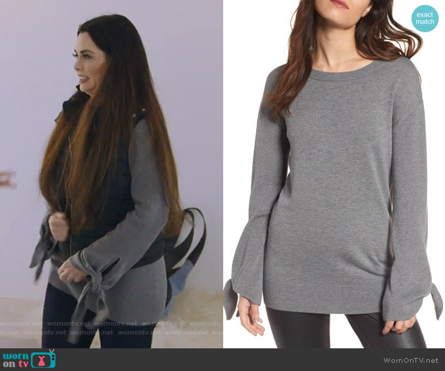 Tie Sleeve Sweater by Trouve worn by D'Andra Simmons (D'Andra Simmons) on The Real Housewives of Dallas