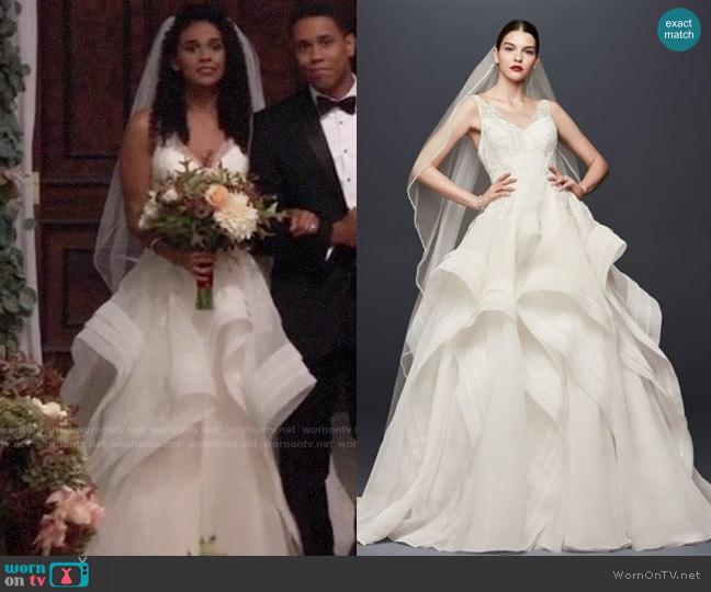 Truly Zac Posen Horsehair Tier Skirt Wedding Dress worn by Jordan Ashford (Briana Nicole Henry) on General Hospital