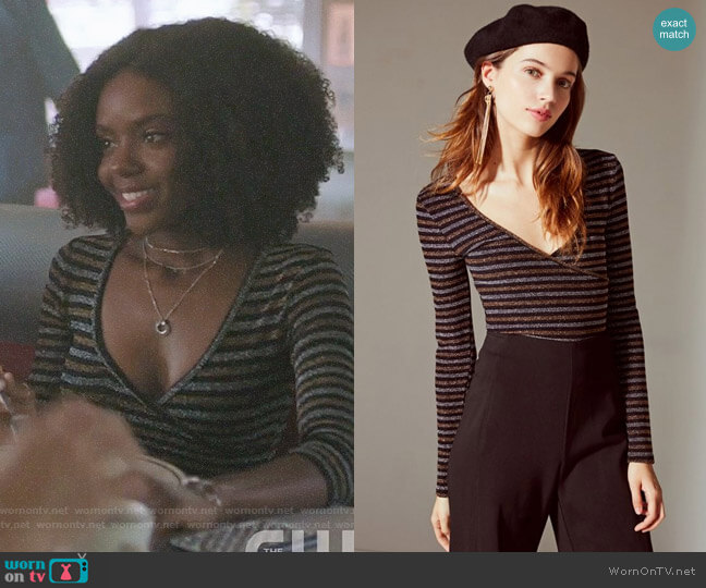 UO Deep V Striped Wrap Top worn by Josie McCoy (Ashleigh Murray) on Riverdale