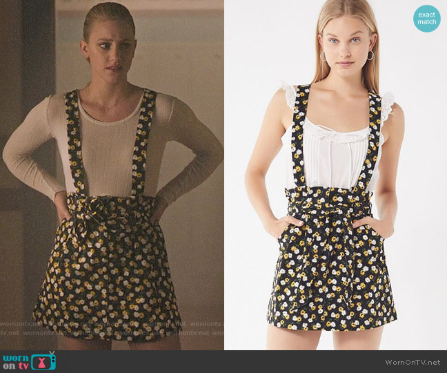 UO Ireley Corduroy Skirtall Overall worn by Lili Reinhart on Riverdale