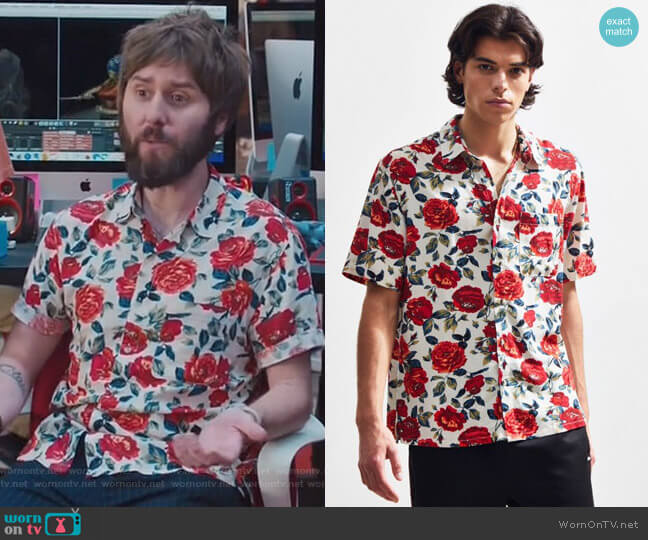 Wandering Rose Shirt by Urban Outfitters worn by Chewey (James Buckley) on I Feel Bad