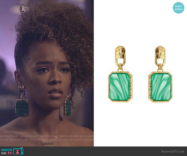 Square Stone Earrings by Balenciaga worn by Serayah McNeill on Empire