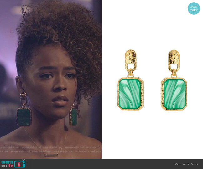 Square Stone Earrings by Balenciaga worn by Tiana Brown (Serayah McNeill) on Empire