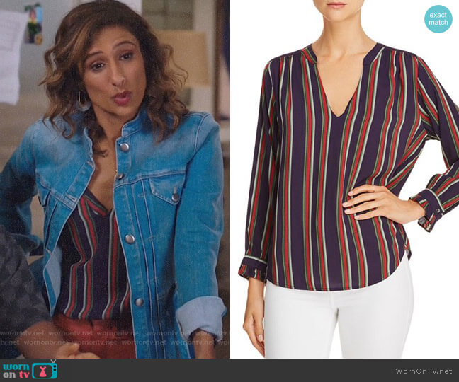 Jade Striped Top by Velvet by Graham & Spencer worn by Emet Kamala-Sweetzer (Sarayu Blue) on I Feel Bad