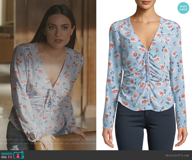 Maisle Blouse by Veronica Beard worn by Ana Brenda Contreras on Dynasty