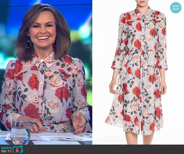Vivid Rose Midi Shirt Dress by Veronika Maine worn by Lisa Wilkinson (Lisa Wilkinson) on The Project