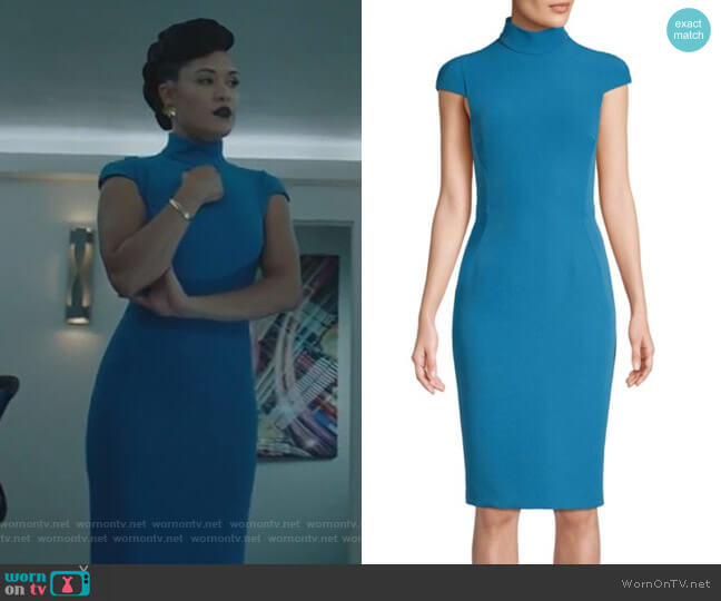 Cap-Sleeve Turtleneck Dress by Versace Collection worn by Reeva Payge (Grace Byers) on The Gifted