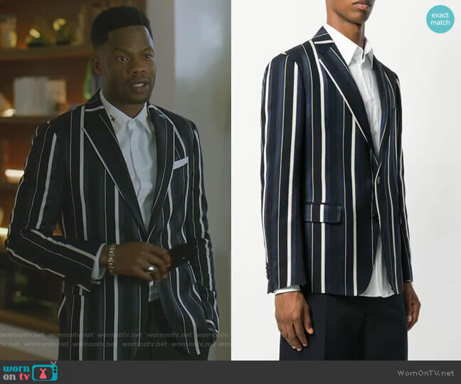 Single Button Striped Blazer by Versace worn by Jeff Colby (Sam Adegoke) on Dynasty