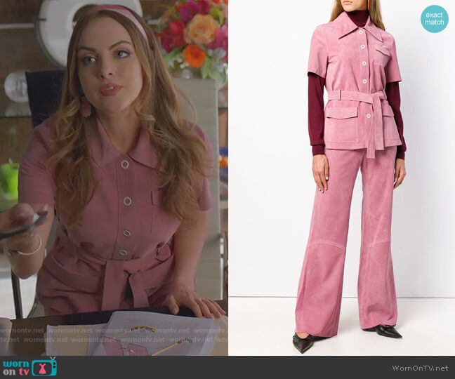 Suede Button-Front Belted Safari Top and pants by Victoria Beckham worn by Elizabeth Gillies on Dynasty