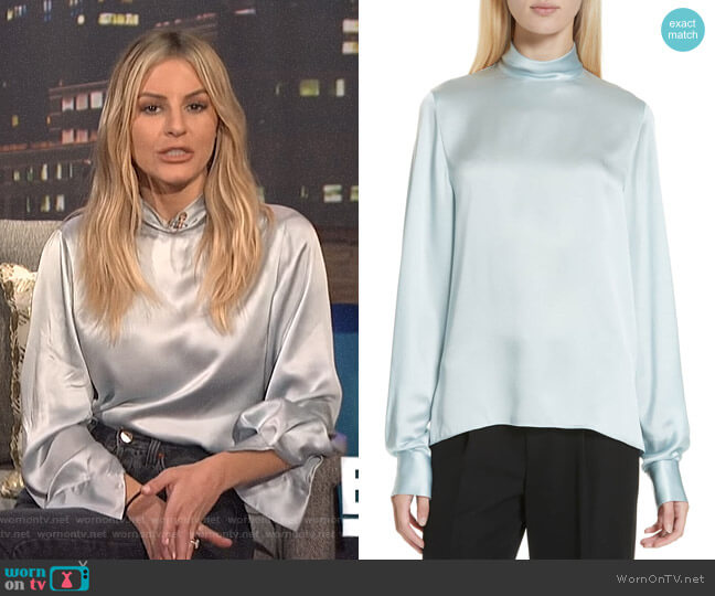 High Neck Silk Blouse by Vince worn by Morgan Stewart (Morgan Stewart) on E! News