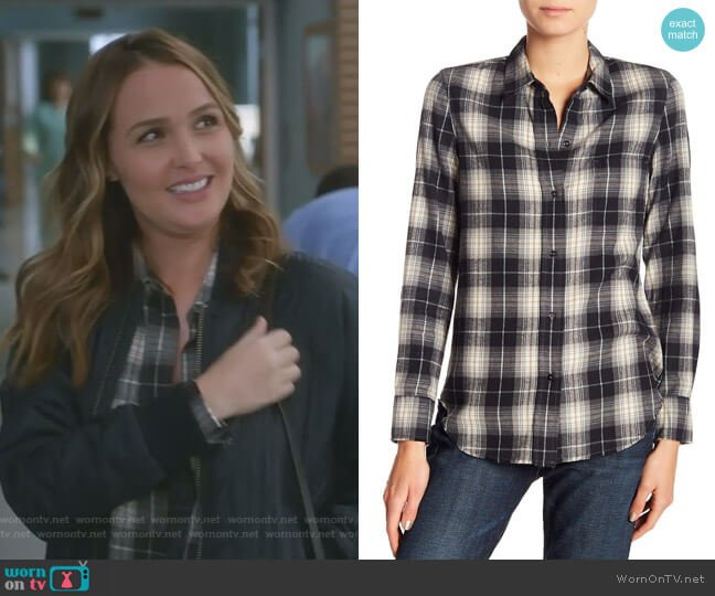 Oversized Plaid Button Down Shirt by Vince worn by Camilla Luddington on Greys Anatomy