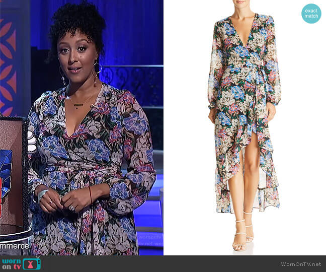 Only You High/Low Floral Wrap Dress by Wayf worn by Tamera Mowry  on The Real